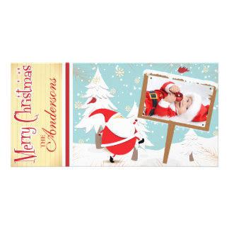 Classic, festive santa clause holiday photo card