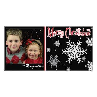 Classic festive snowflake holiday photo card
