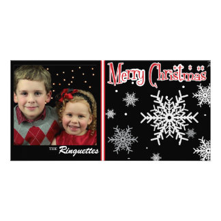 Classic festive snowflake holiday photo card