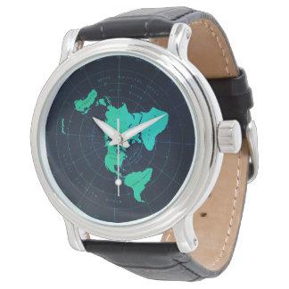 Classic Flat Earth Naval-Style Black Wristwatch