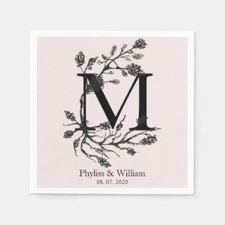 Classic Floral Branches Monogram Wedding Disposable Napkin