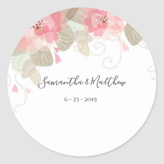 Classic Floral Round Sticker