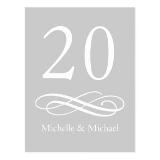 Classic Flourish Table Numbers (Silver / White) Postcard