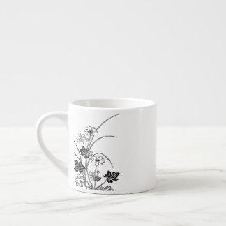 Classic Flowers Sketch Espresso Mug