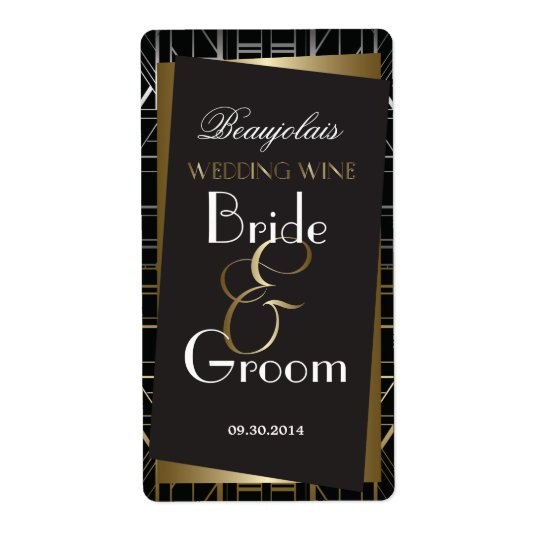 Classic Gatsby Deco Wedding Wine Label