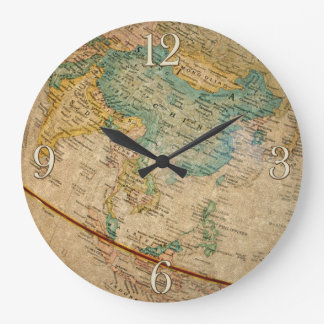 Classic Geographical Globe Artwork Large Clock