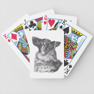 Classic German Shepherd profile Portrait Drawing Bicycle Playing Cards