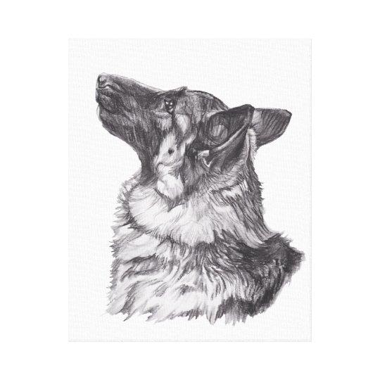 Classic German Shepherd profile Portrait Drawing Canvas Print