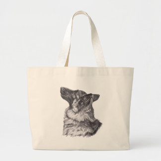 Classic German Shepherd profile Portrait Drawing Large Tote Bag