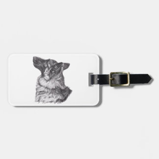 Classic German Shepherd profile Portrait Drawing Luggage Tag