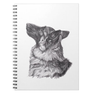Classic German Shepherd profile Portrait Drawing Spiral Notebook