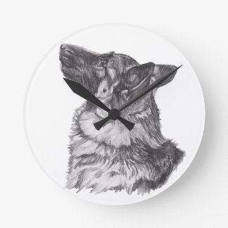 Classic German Shepherd profile Portrait Drawing Wallclocks