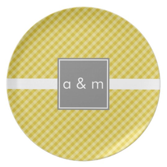 Classic Gingham Gold with Grey Melamine Plate
