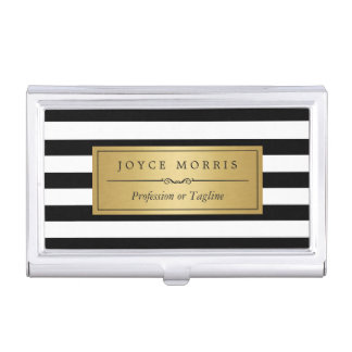 Classic Gold and Black White Stripes Personalized Business Card Holder