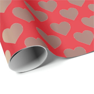 Classic Gold Blush Pink Red Hearts Confetti Wrapping Paper