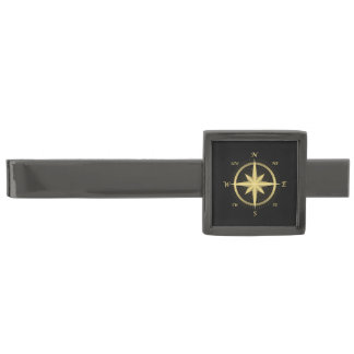 Classic Gold Compass on Black Gunmetal Finish Tie Clip