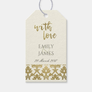 CLASSIC GOLD DAMASK FLORAL PATTERN MONOGRAM GIFT TAGS
