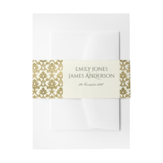 CLASSIC GOLD DAMASK FLORAL PATTERN MONOGRAM INVITATION BELLY BAND
