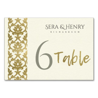 CLASSIC GOLD DAMASK FLORAL PATTERN TABLE CARD
