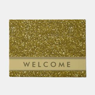 Classic Gold Glitter Look Welcome Doormat