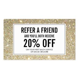 Classic Gold Glitter Salon Referral Card Business Card