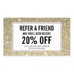 Classic Gold Glitter Salon Referral Card Pack Of Standard Business Cards