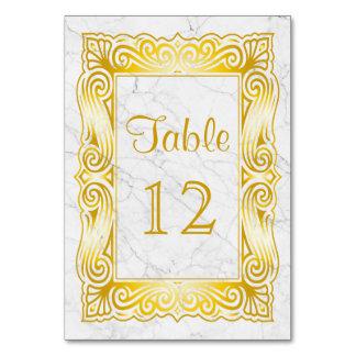 Classic Gold Monogram Elegant Frame White Marble Card