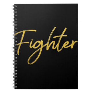 Classic gold motivation fighter in marker script notebooks