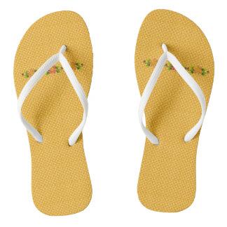 Classic-Gold-Plaid-Floral-Accent(C)Multi-Styles Flip Flops