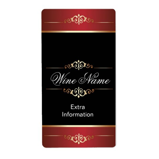 Classic Gold Red Black Wine Label