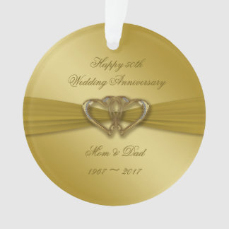 Classic Golden 50th Anniversary Acrylic Ornament