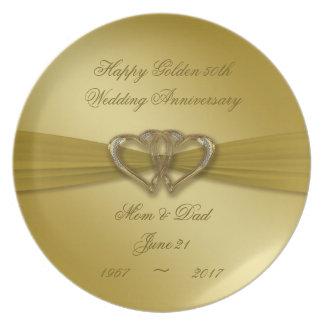 Classic Golden 50th Anniversary Melamine Plate