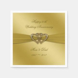 Classic Golden 50th Anniversary Paper Napkins