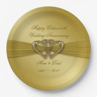 Classic Golden 50th Anniversary Paper Plate
