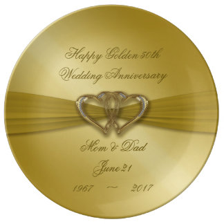 Classic Golden 50th Anniversary Porcelain Plate