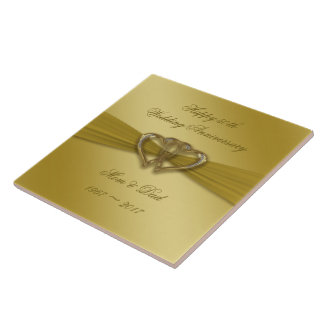 Classic Golden 50th Wedding Anniversary Tile