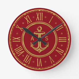 Classic Golden Anchor | Nautical Red Round Clock