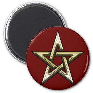 Classic Golden Pentagram 2 Inch Round Magnet