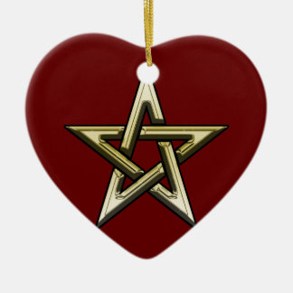 Classic Golden Pentagram Ceramic Heart Ornament