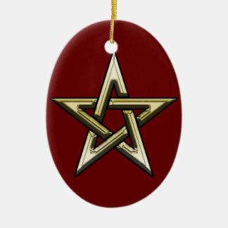 Classic Golden Pentagram Ceramic Oval Ornament