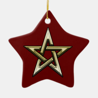 Classic Golden Pentagram Ceramic Star Ornament