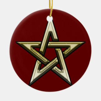 Classic Golden Pentagram Round Ceramic Ornament