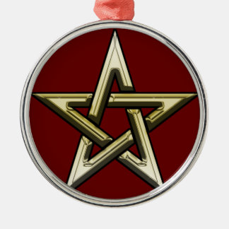 Classic Golden Pentagram Silver-Colored Round Ornament