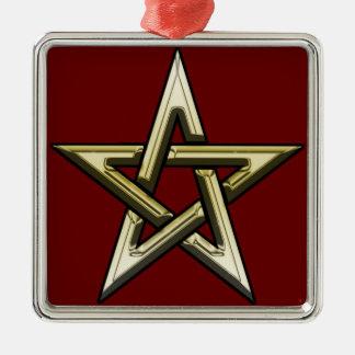 Classic Golden Pentagram Silver-Colored Square Ornament