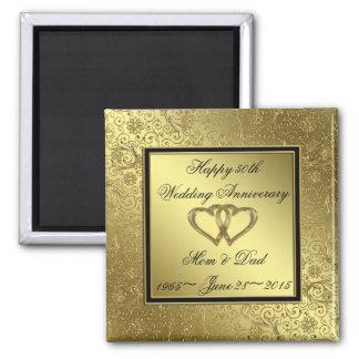 Classic Golden Wedding Anniversary Square Magnet