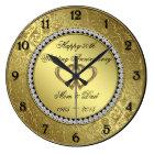 Classic Golden Wedding Anniversary Wall Clock