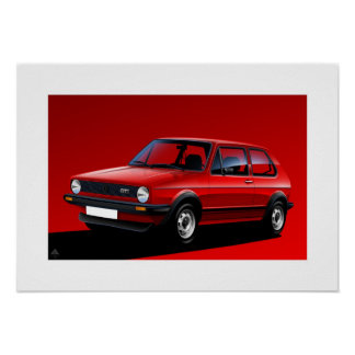 Classic Golf GTI mk1 Poster Illustration