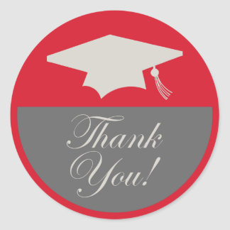 Classic Graduation Thank You Label (Red) Round Sticker