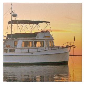 Classic Grand Banks Trawler at Sunset Ceramic Tiles
