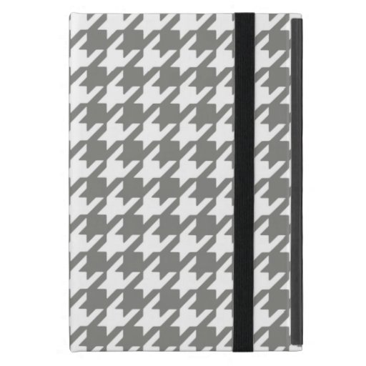 Classic Gray and White Houndstooth Pattern Cover For iPad Mini